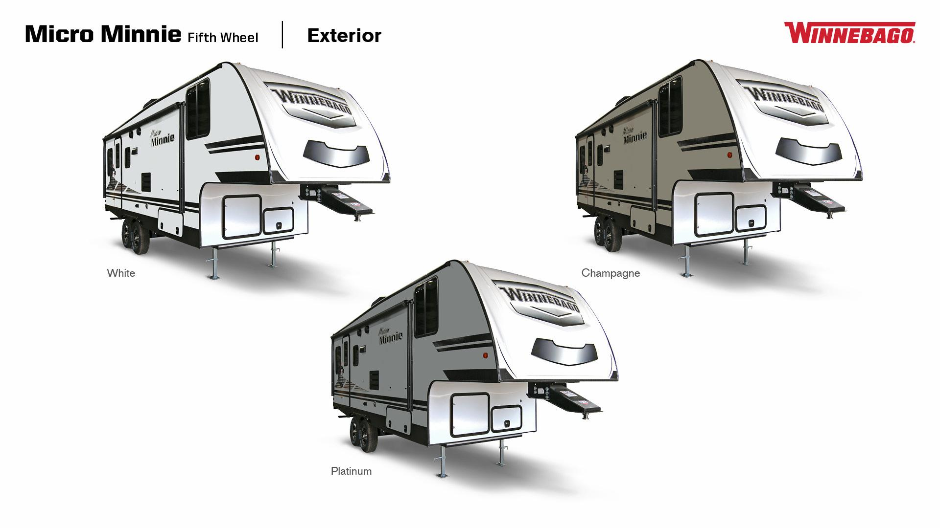 Winnebago Micro Minnie Fifth Wheel exterior in White, Platinum, and Champagne, 3/4 Side views