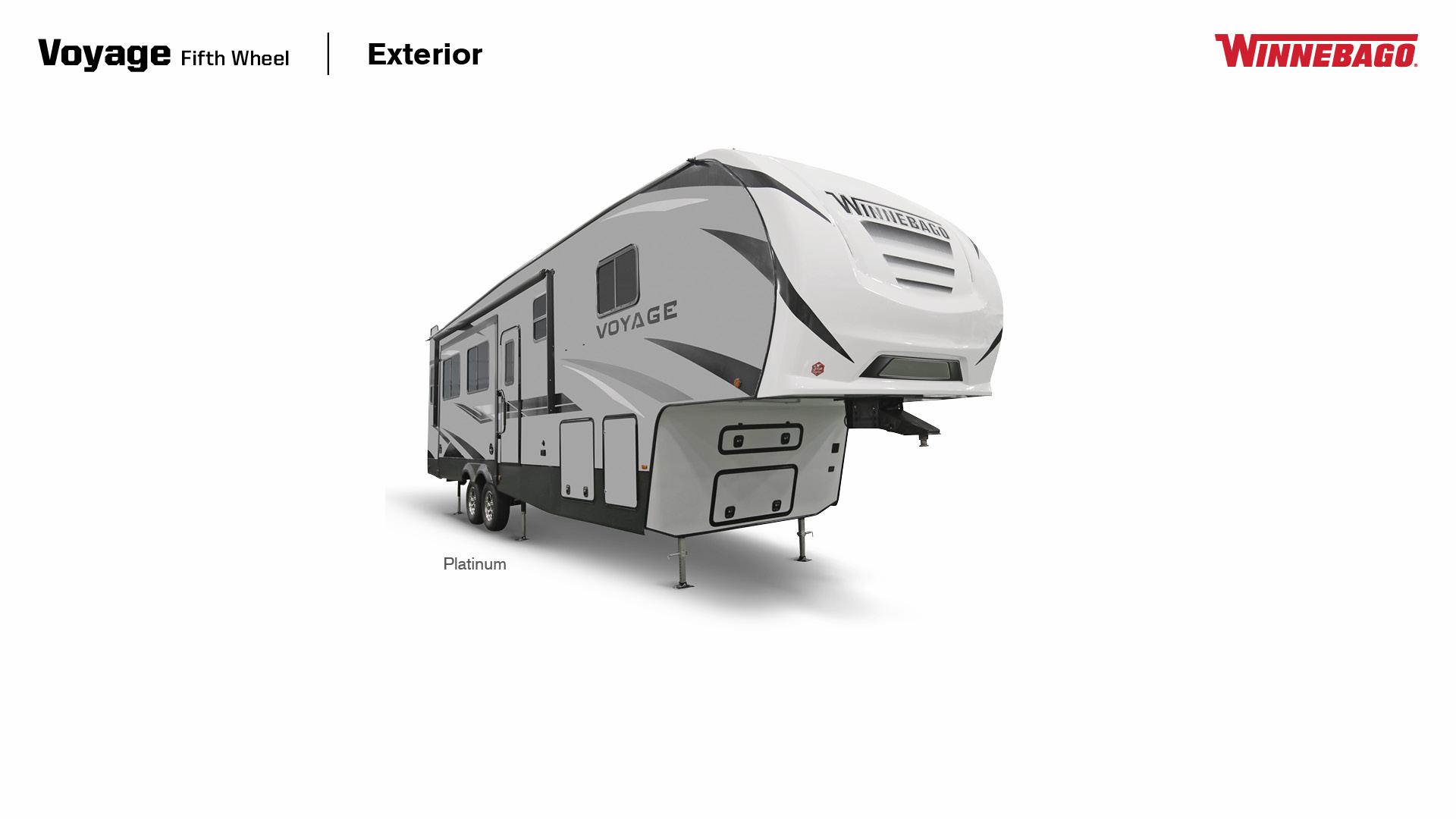 Winnebago Voyage Fifth Wheel exterior in Platinum, 3/4 Side view