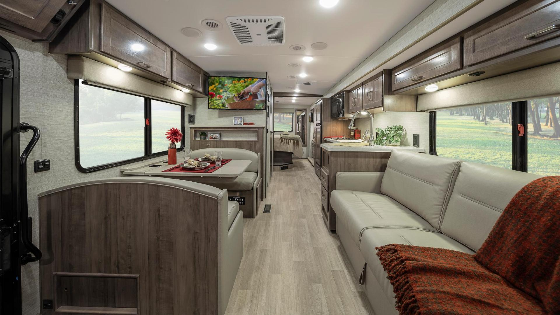 Looking to the back of the motorhome you can see the spacious living area in the motorhome.