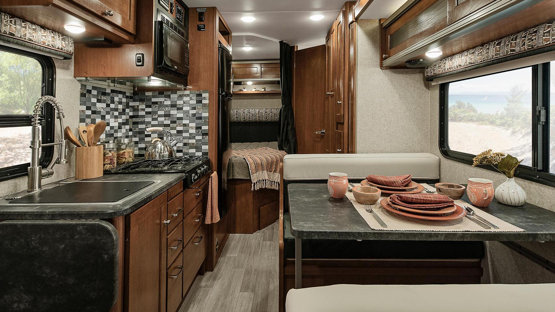 Winnebago Fuse interior, from front to back detail of dining and galley areas