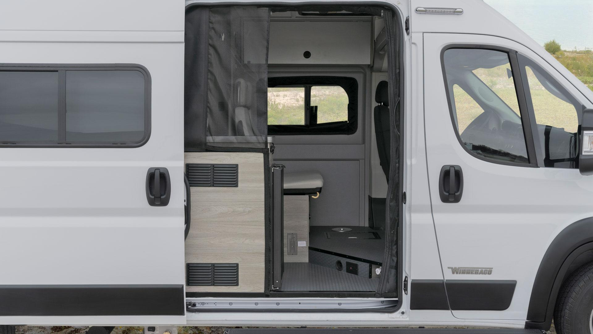 Winnebago Solis passenger side view with sliding door open