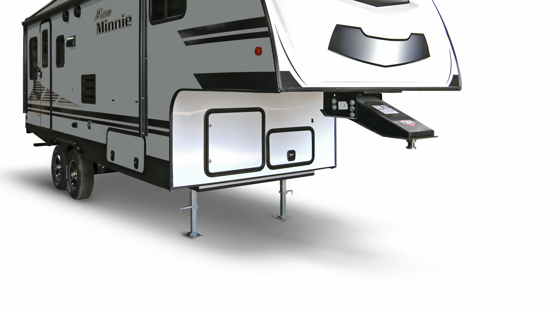 Winnebago Micro Minnie Fifth Wheel 3/4 exterior view featuring the tow hitch