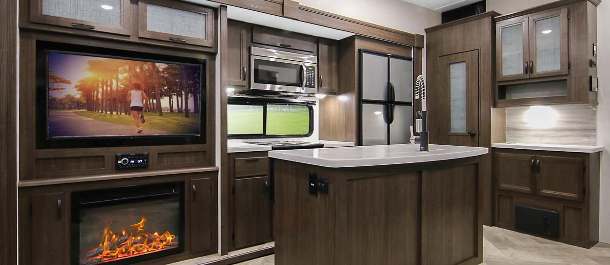 Voyage Fifth Wheel V3134RL Galley Space Featuring Residential Kitchen Appliances