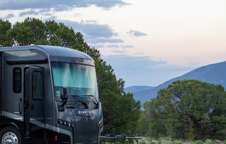 Winnebago Forza parked on BLM land in Colorado at sunset
