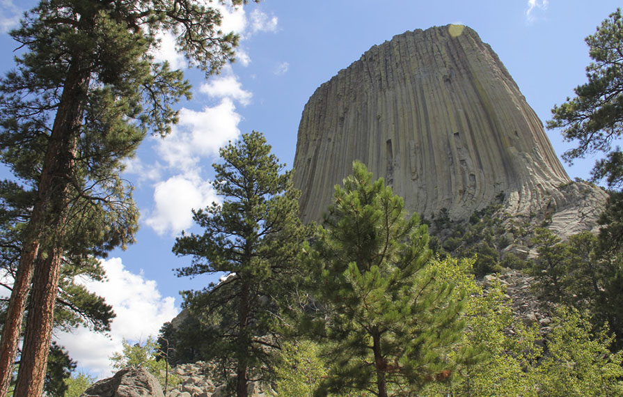 View of Devils Tower from ground