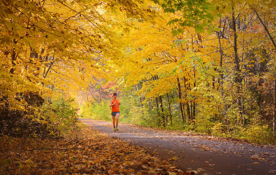 Mikah running on paved road with yellow fall trees above