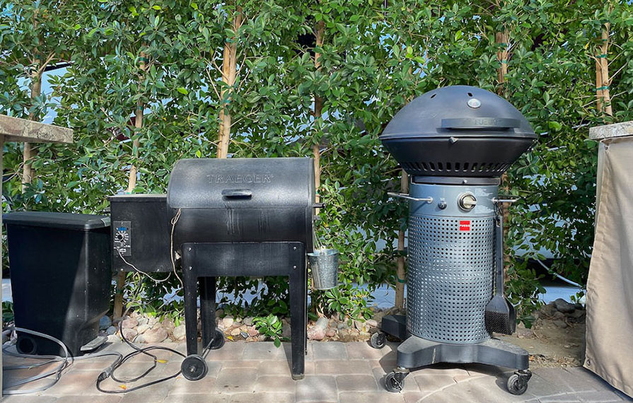Smoke and sear on patio