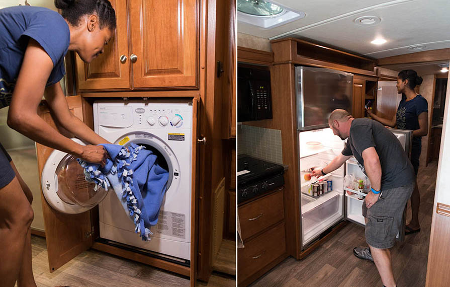 First photo: Sabrina putting laundry in washing machine Second photo: Kenny looking in refrigerator and Sabrina looking in kitchen cupboard