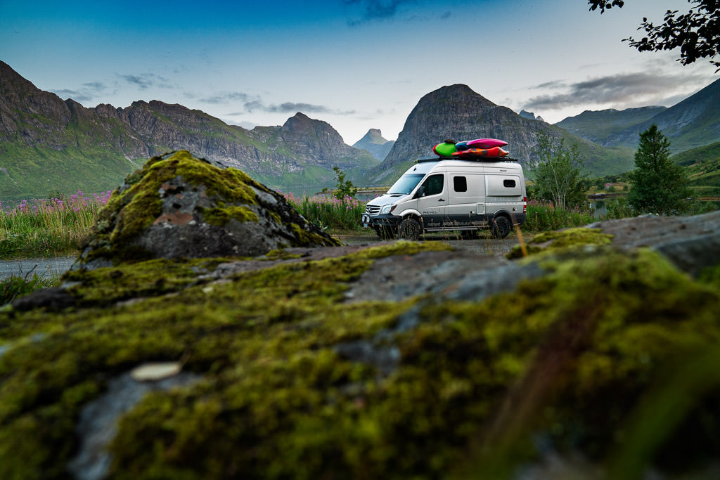Winnebago Revel boon docking in rugged landscape in Norway