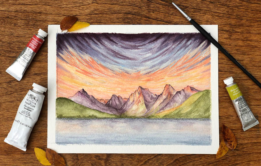 Picture of mountains painted by Shanae