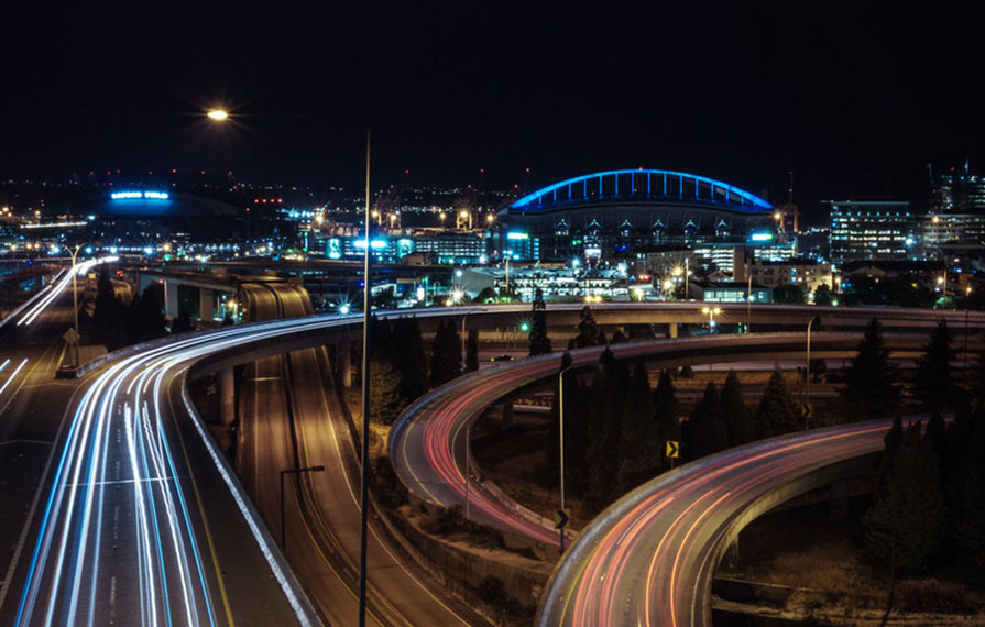 View from above of Seattle highway at night