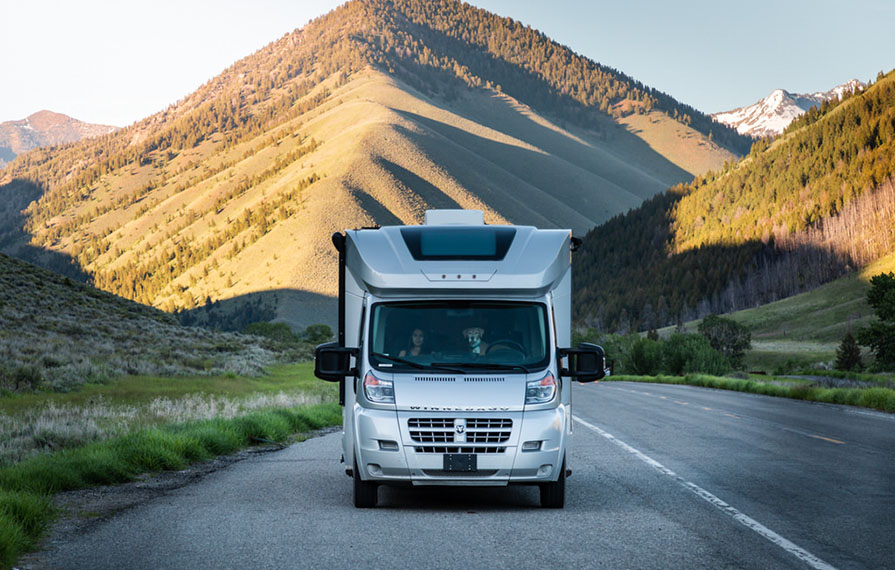 Winnebago Trend parked on side of Sawtooths Idaho State road