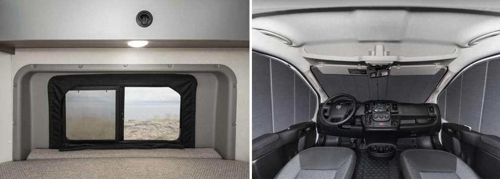 Insulation around side window and zipped air barrier window coverings of the Winnebago Solis.