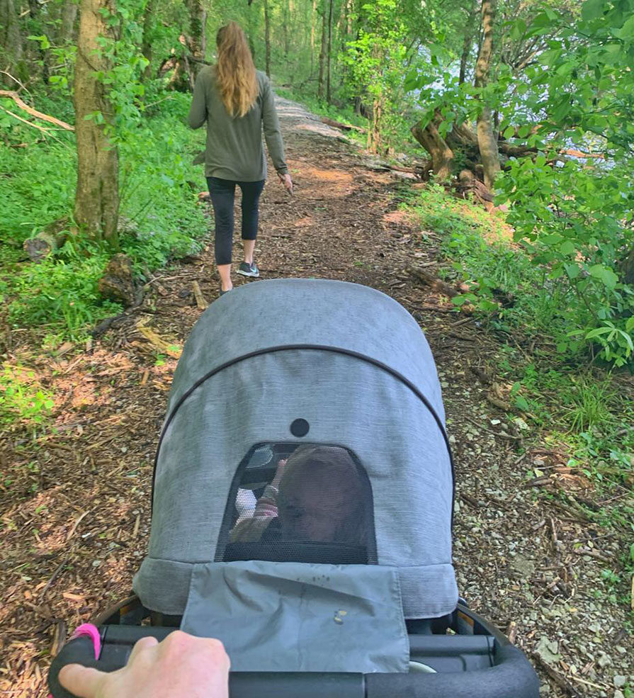 Padgett family on a hike with Ellie in a stroller