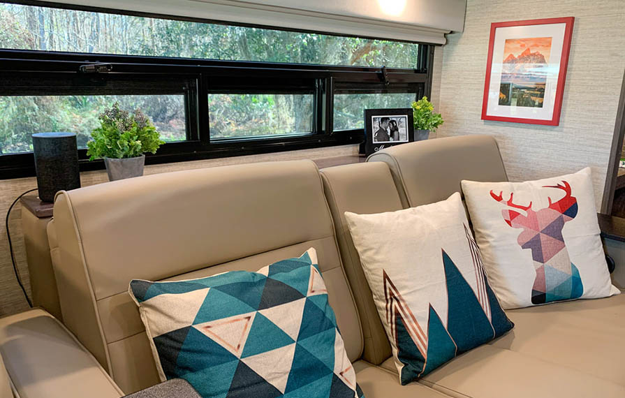 Colorful pillows on RV sofa
