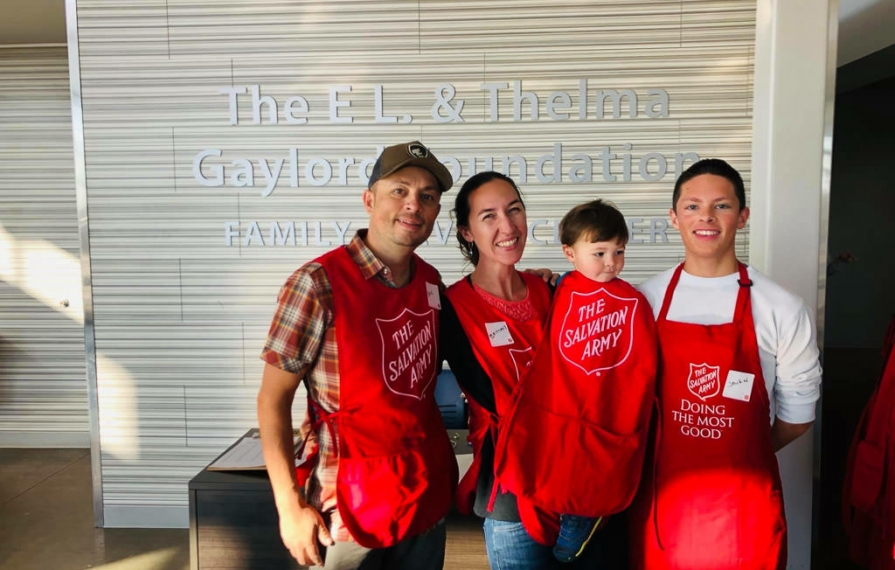 Highland family volunteering at The Salvation Army