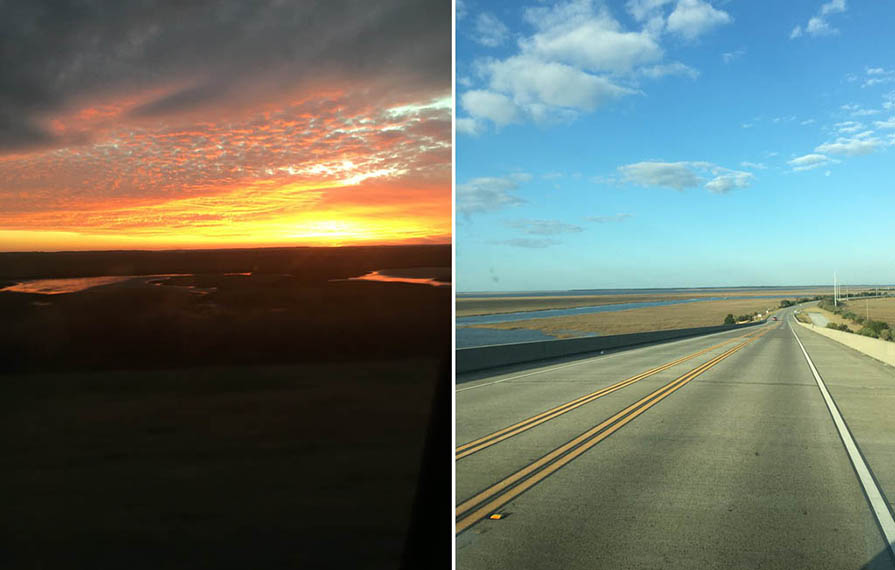 First photo: colorful sunset. Second photo: wide open road