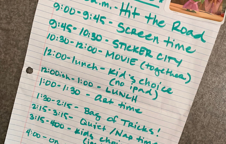Driving day schedule written out on paper