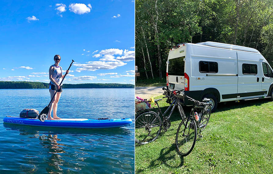 First photo: Lindsey on inflatable paddleboard. Second photo: Bikes parked behind Winnebago Solis