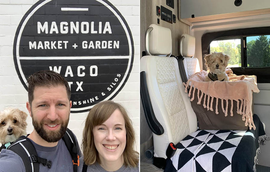 First photo: Lindsey and Dan in front of Magnolia sign in Waco, TX. Dan has their dog, Digger, in a backpack. Second photo: Digger sitting in booster chair on bench seat.