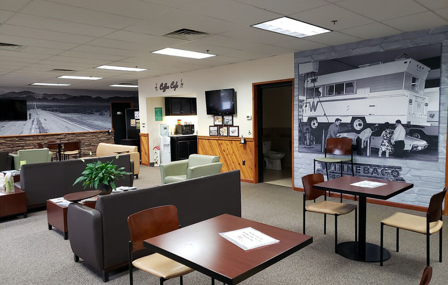 The waiting room inside the Winnebago Factory Service Center
