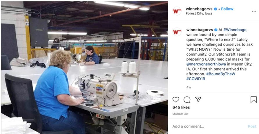 Winnebago Facebook post about sewing masks