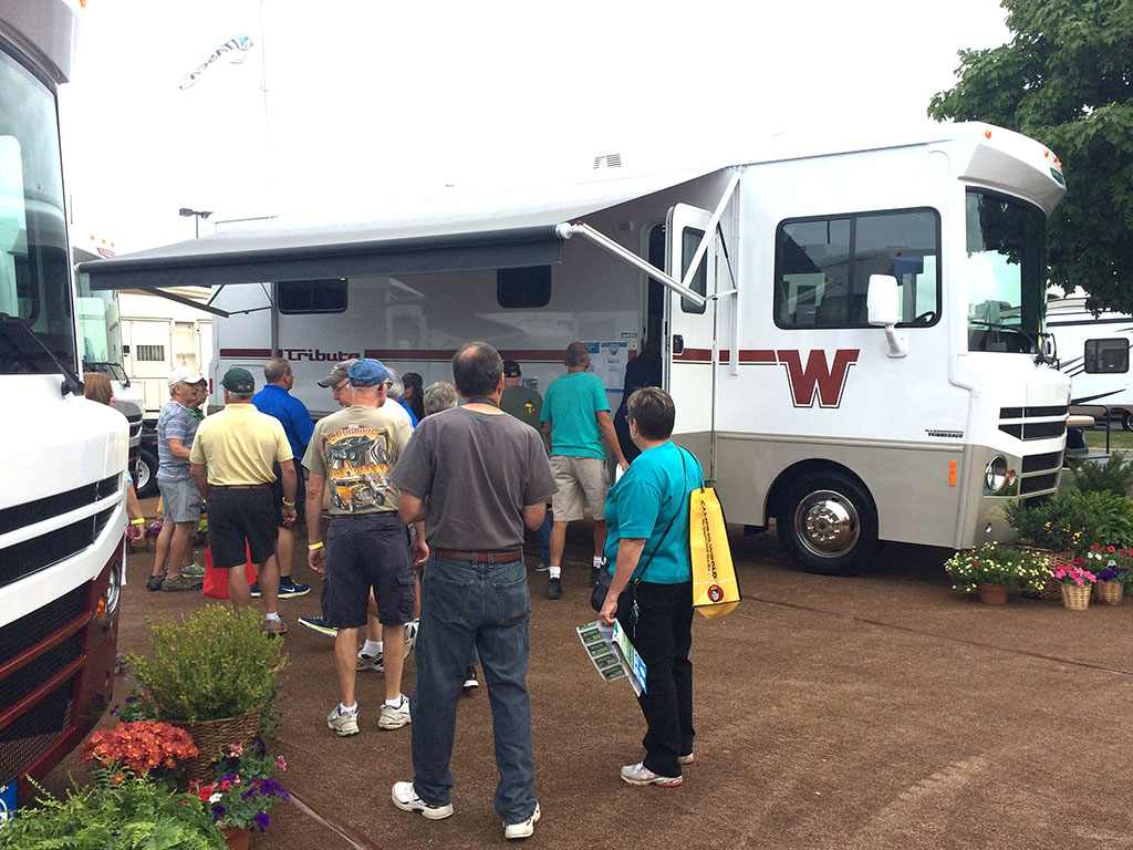 Crowd at Hershey gathered outside a Winnebago Tribute.