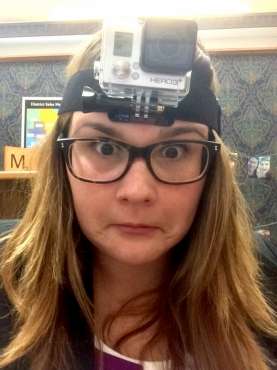 Maggie wearing a GoPro camera on her head.