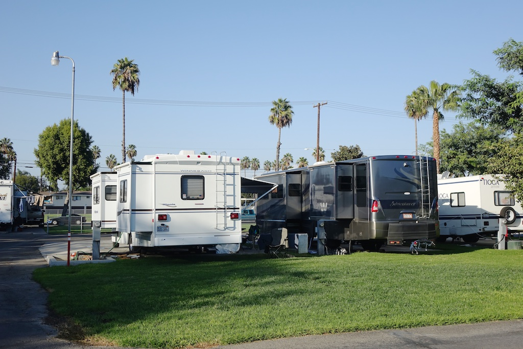 Motorhomes at RV park.