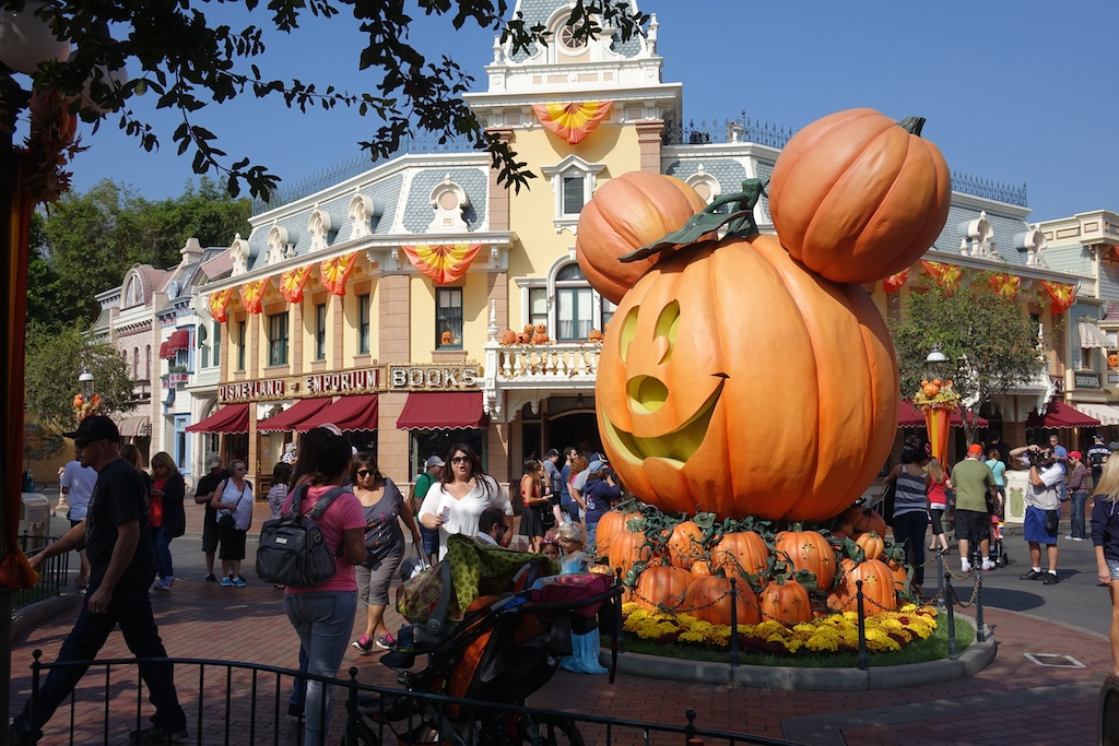 Halloween decorations covering the main street of Disneyland.