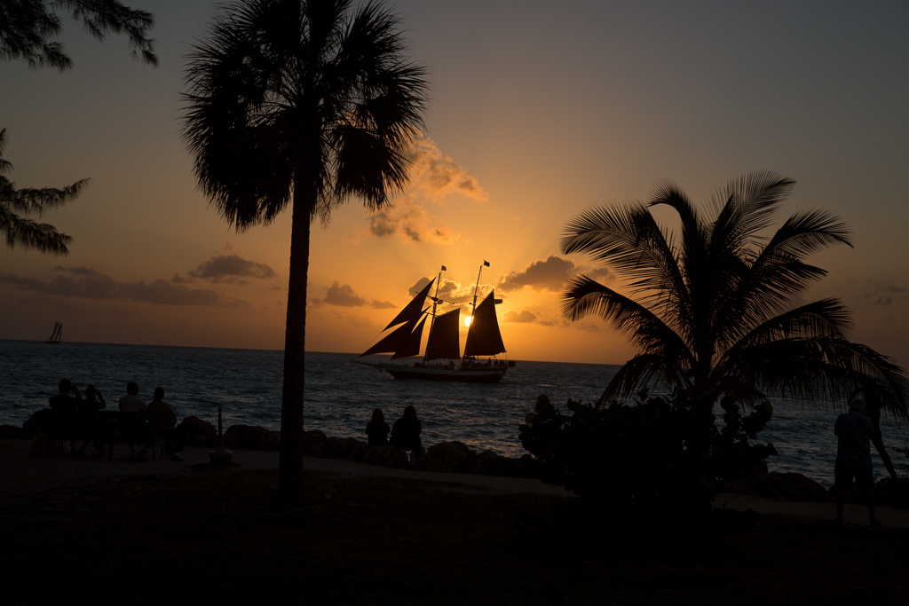 Silhouette of palm trees, people at the beach and boat out on the water against the setting sun.