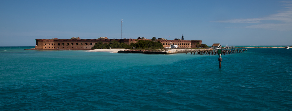 Fort Jefferson from with water surrounding.