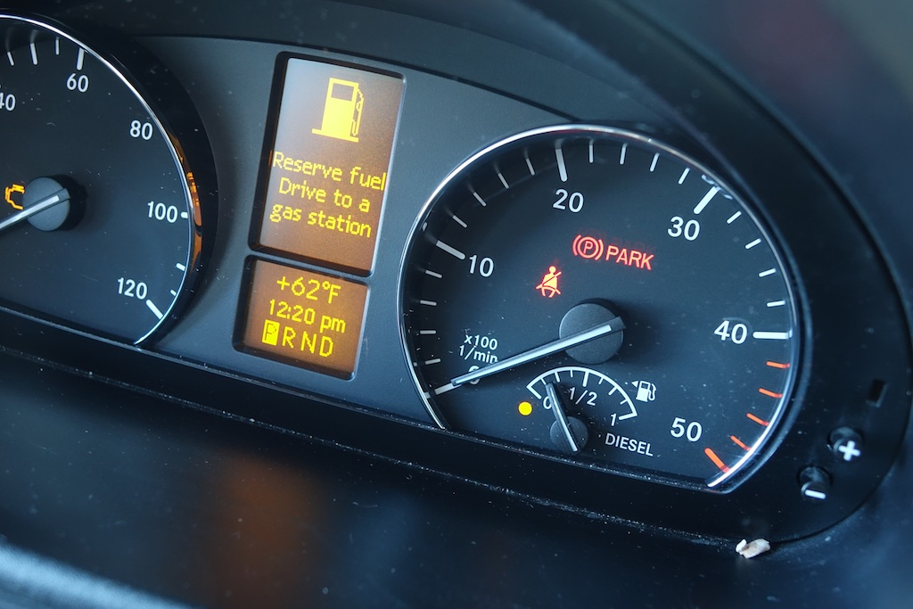 Navion Dashboard showing low on gas.