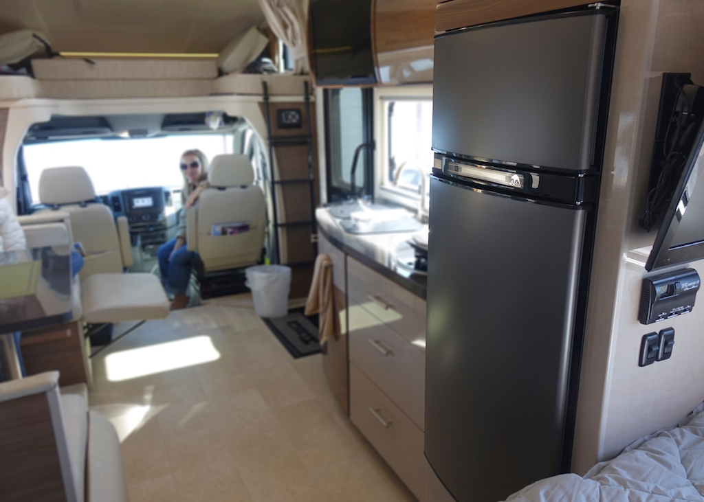 Winnebago Navion front end with fridge in focus.