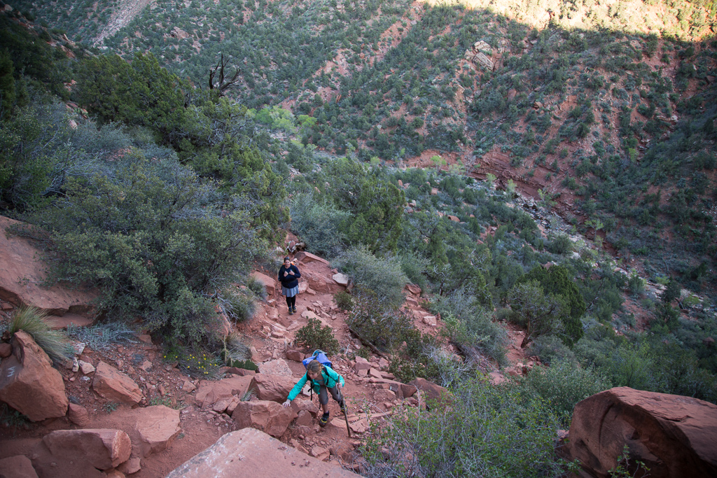 Kathy and Abby making their final ascent up the rocky steep side of the canyon.