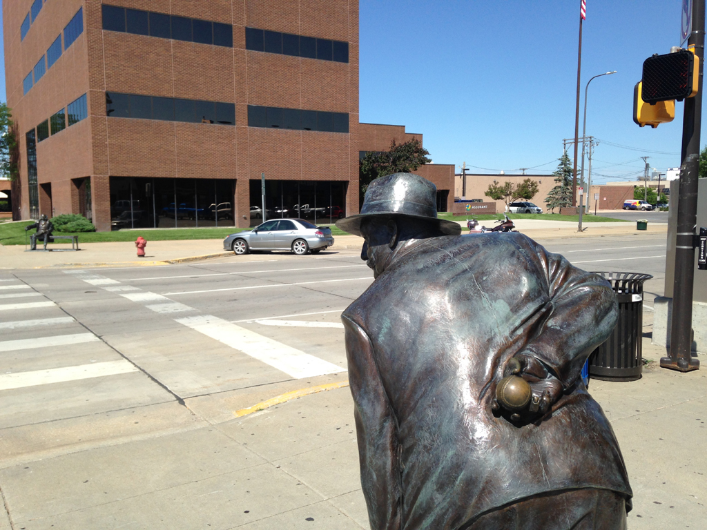 Two of the statues at street corners on Presidents Walk in Rapid City, SD.