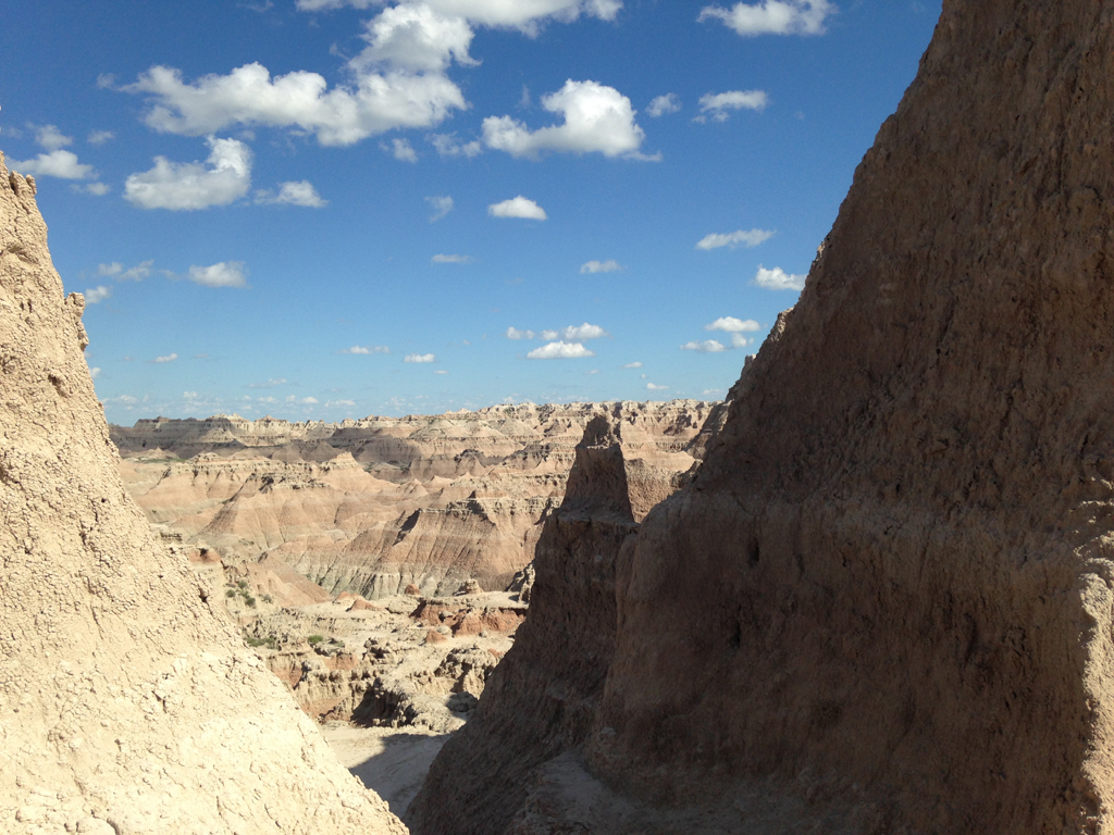 Badlands stretching across the horizon.