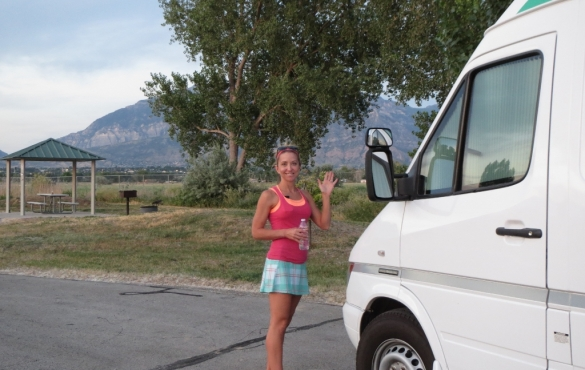 Stef standing outside RV.