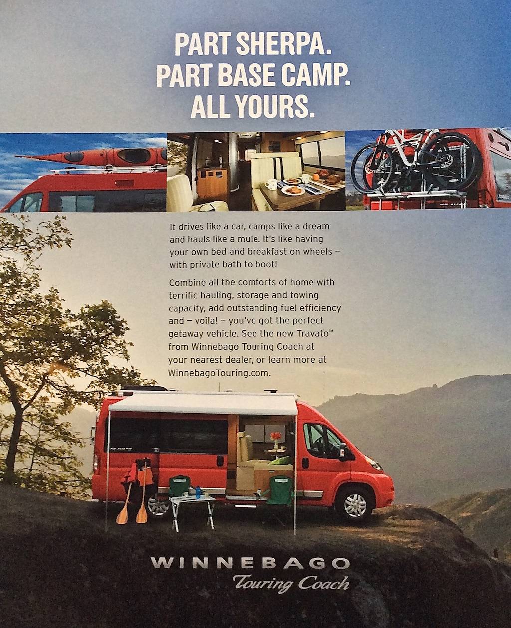 Brochure for Winnebago Touring Coach.