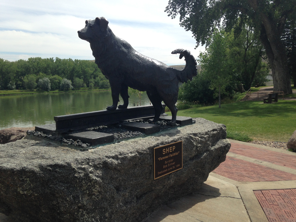 Statue of Shep along the water.