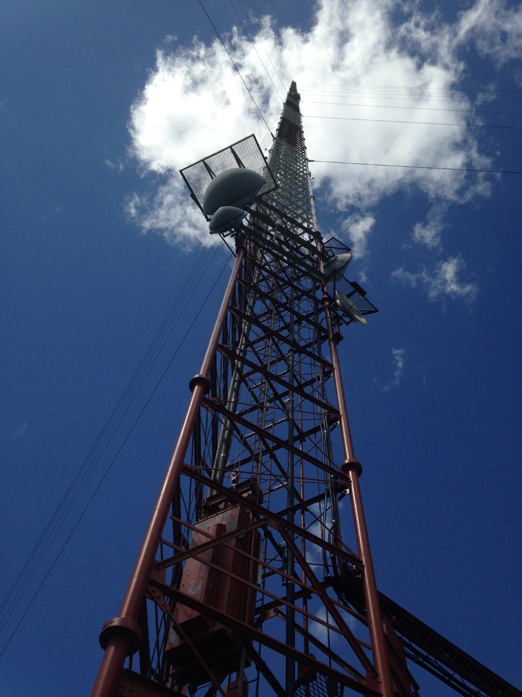 Extremely tall television transmitting tower.