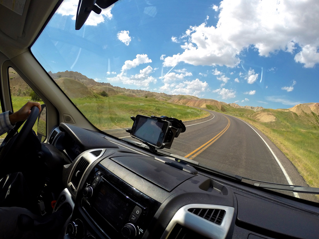 Front dash of the Winnebago Travato with open road ahead.