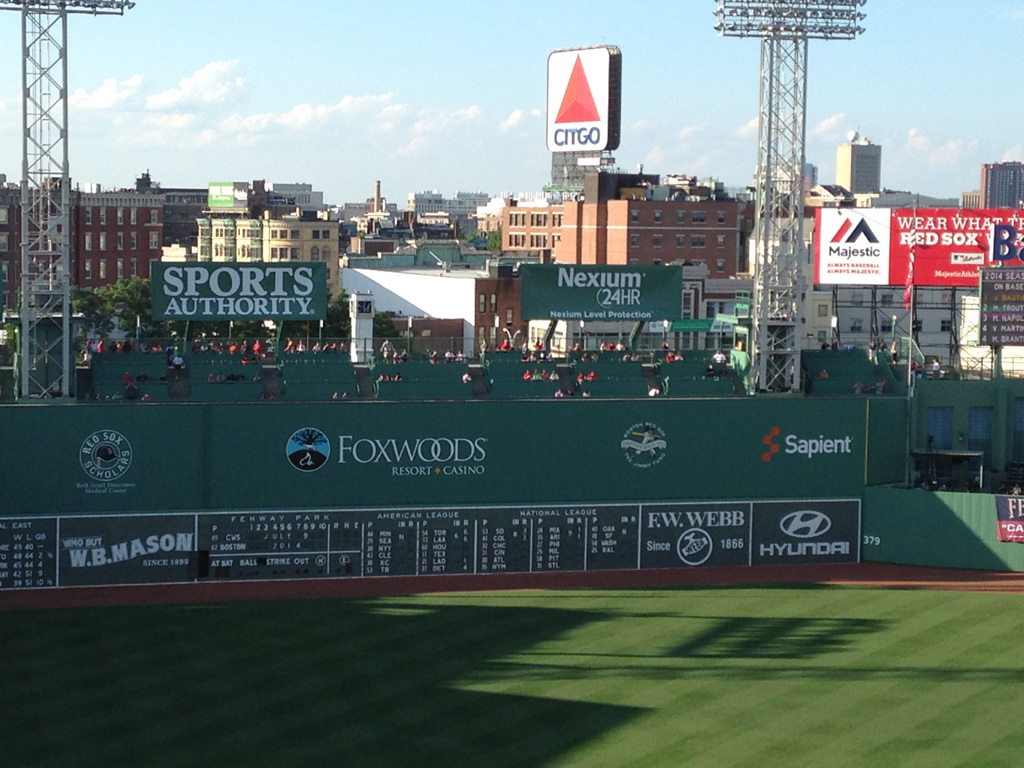 Outfield of Fenway Park with city scape in the background.