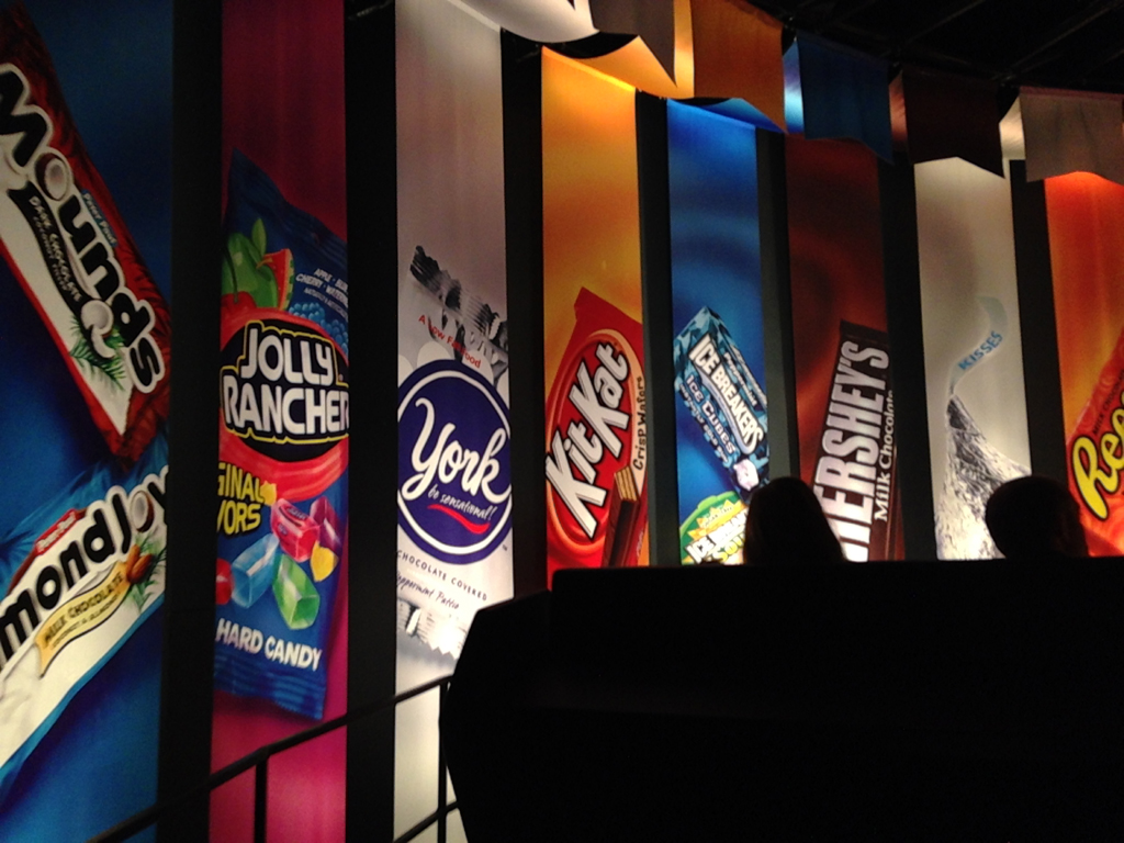 Panels with different types of candy at Hershey's Chocolate World.