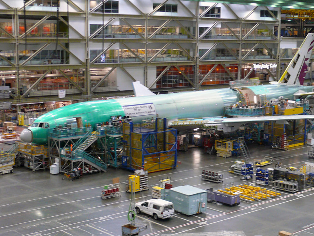 Plane being built at the Boeing factory.