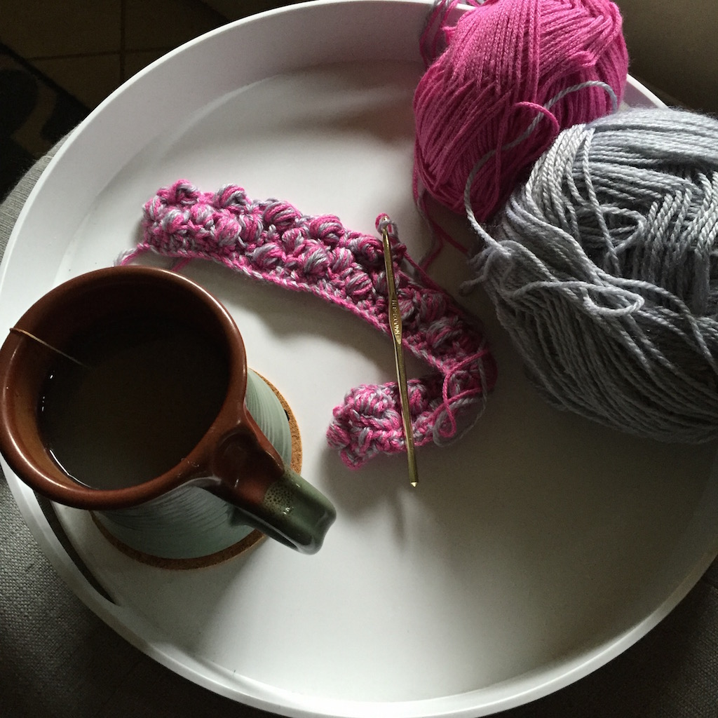 Yarn and cup of coffee.