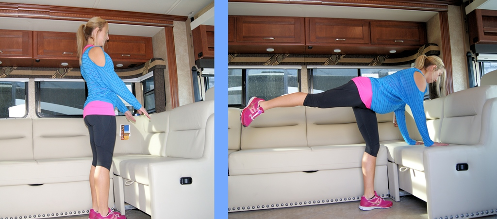 Stef bracing herself on a RV couch then doing a leg lift.