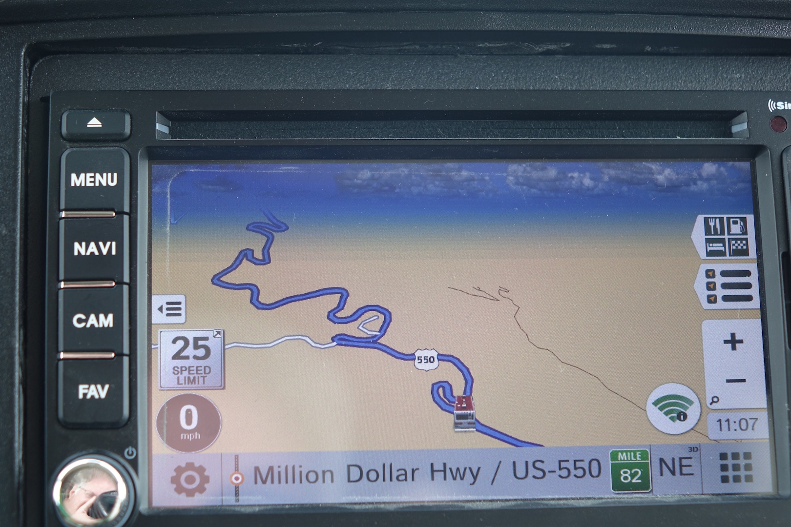 GPS showing route along Million Dollar HWY.
