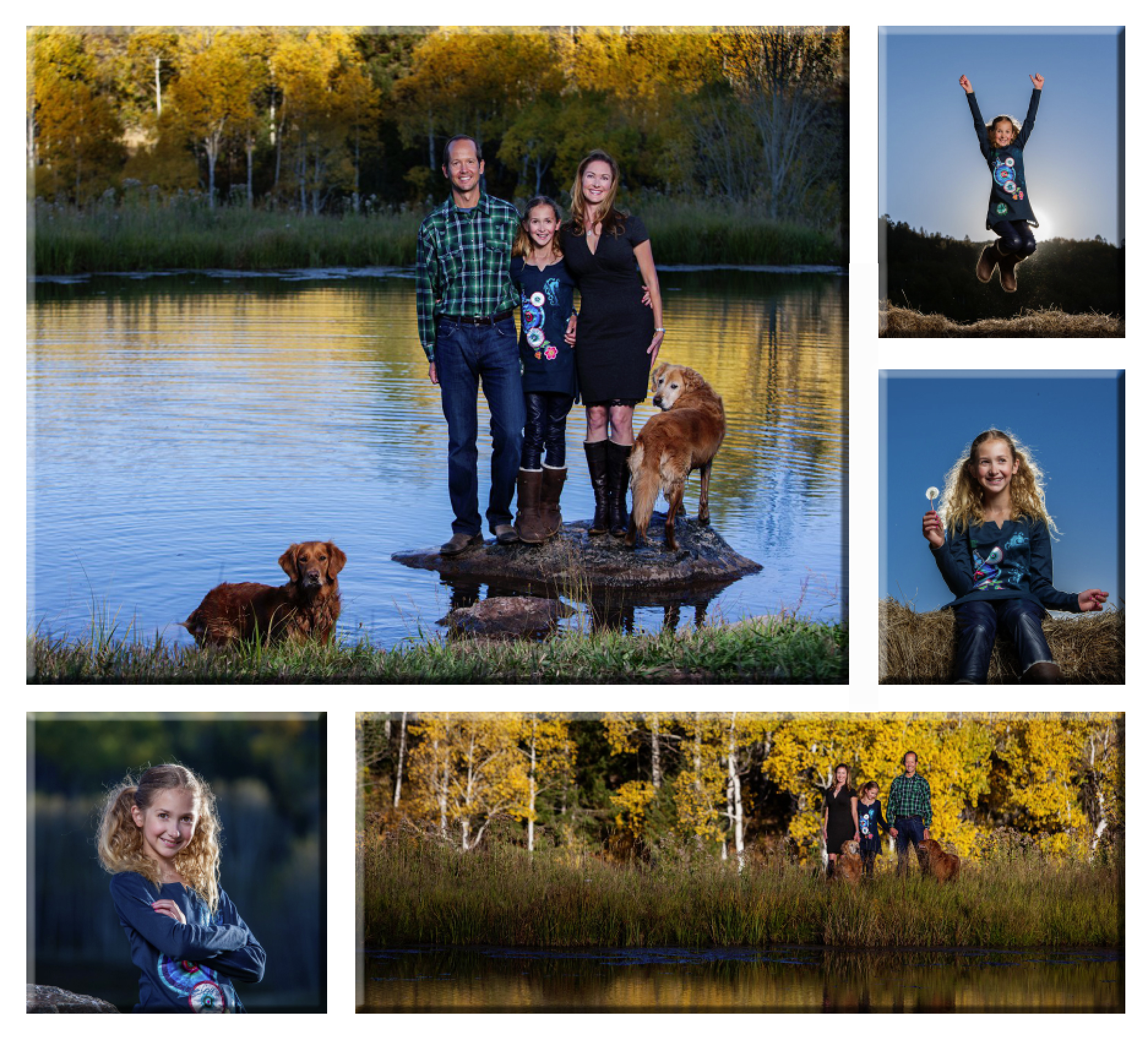 Collage of family photos taken at a lake in the fall.