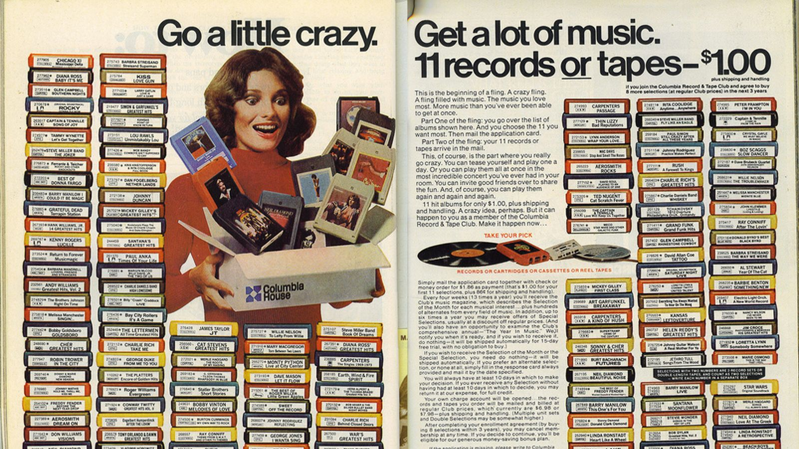 Magazine spread of tape titles.